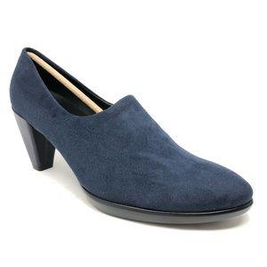 New Ecco 55 Blue Leather Plateau Pump Heels 11 42